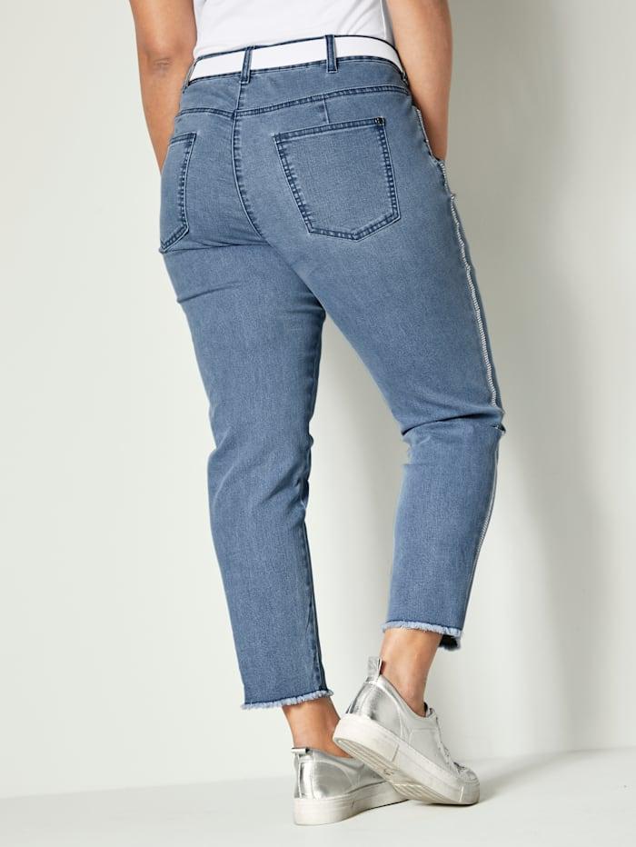 Jeans med galonstriper av strass