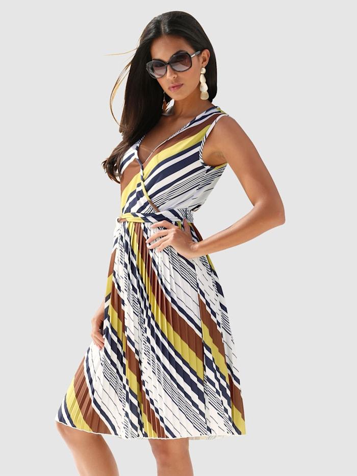 AMY VERMONT Jerseykleid mit plissiertem Rockteil, Weiß/Braun/Gelb