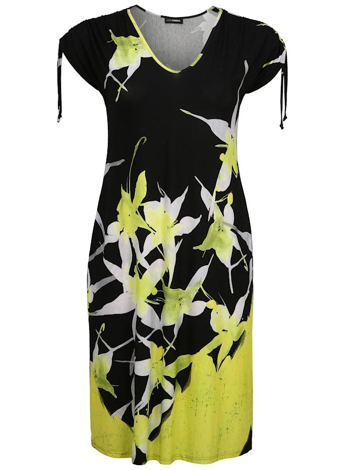 Doris Streich Kleid mit Allover-Muster, schwarz/weiß