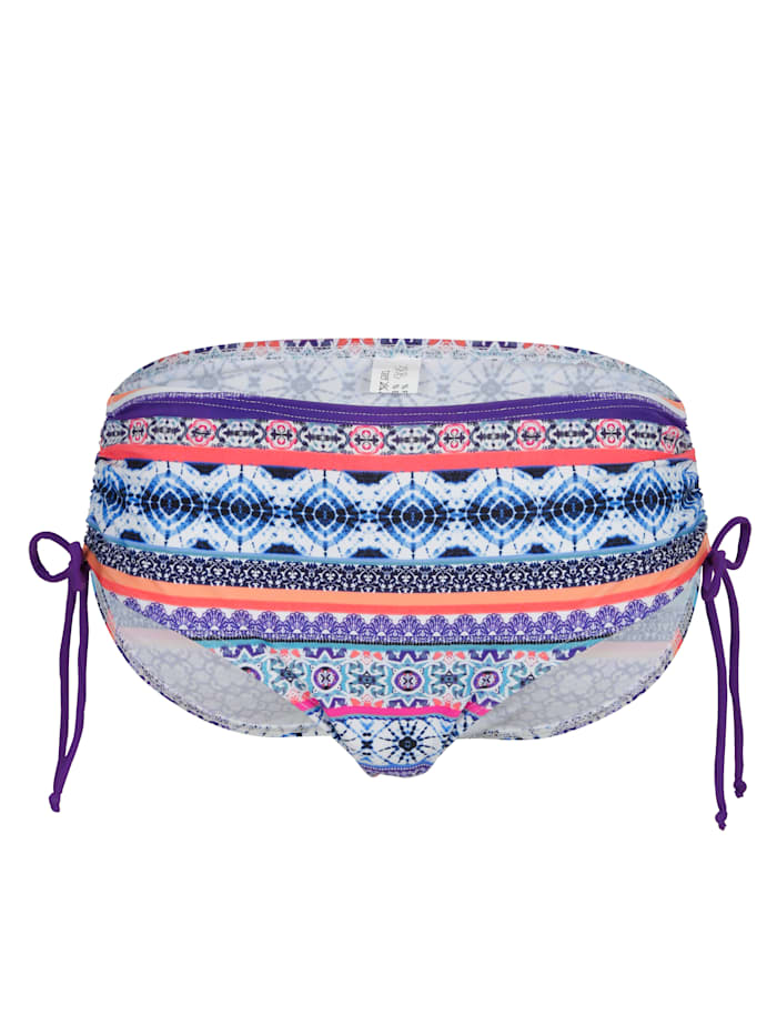 Maritim Bikini Slip mit seitlicher Schnürung, Lila/Apricot