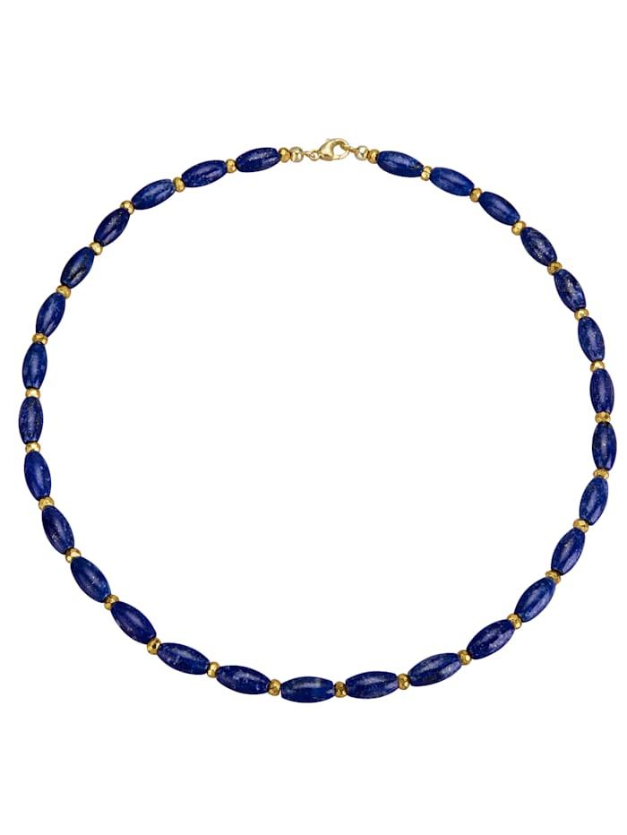 Diemer Farbstein Collier mit Lapislazuli und Pyrit, Blau
