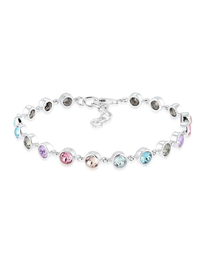Elli Premium Armband Multi Kristalle 925 Sterling Silber, Bunt