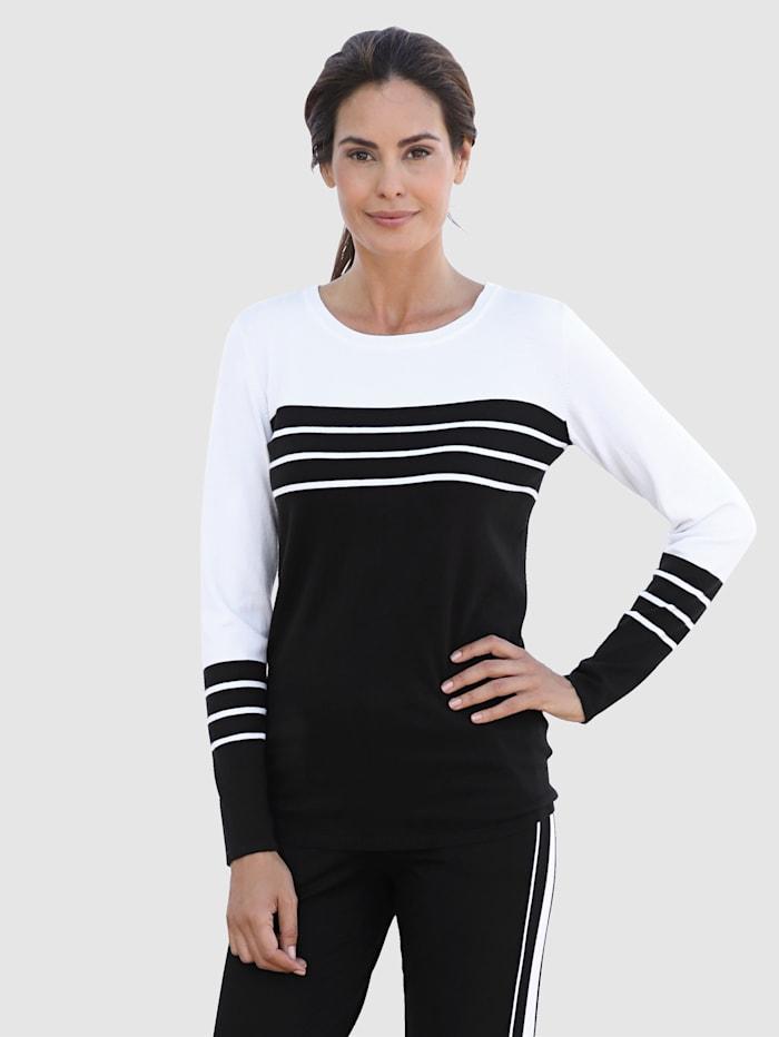 Laura Kent Pullover mit Streifen, Schwarz/Weiß