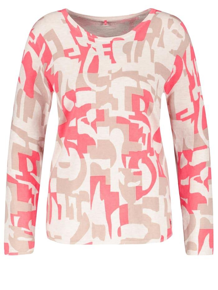 Gerry Weber Gemusterter Pullover organic cotton, Lila/Pink/Ecru/Weiss Druck
