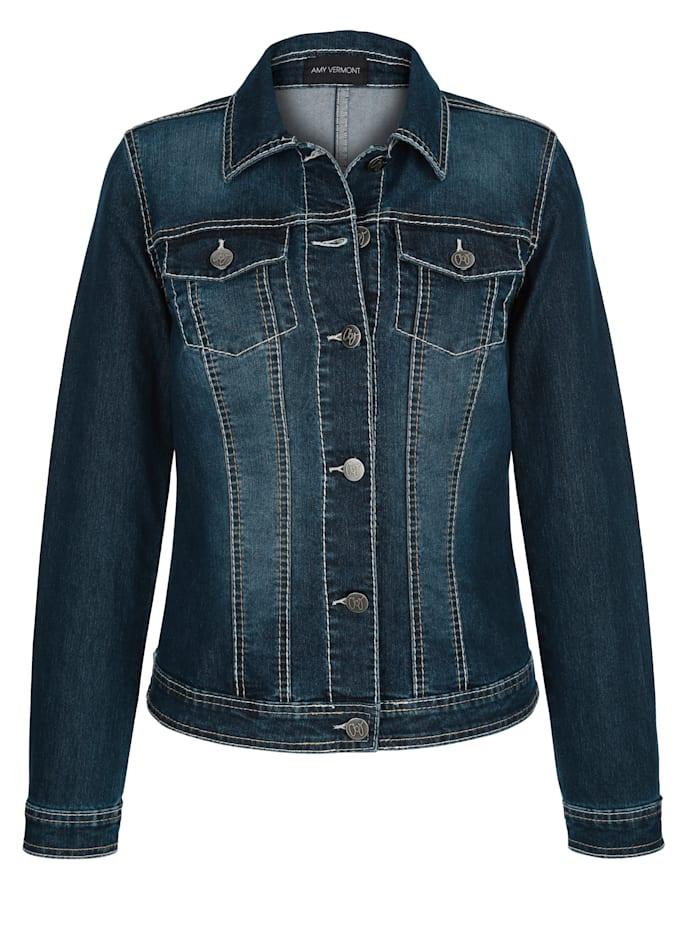 Veste en jean à coutures contrastantes