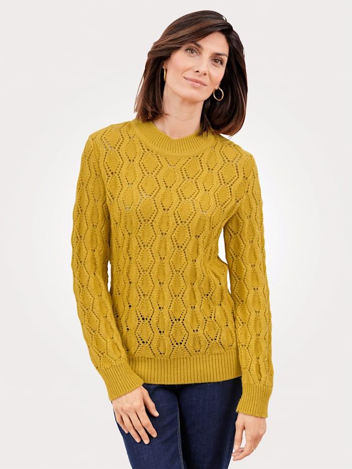 MONA Pullover mit Ajourmuster, Senfgelb