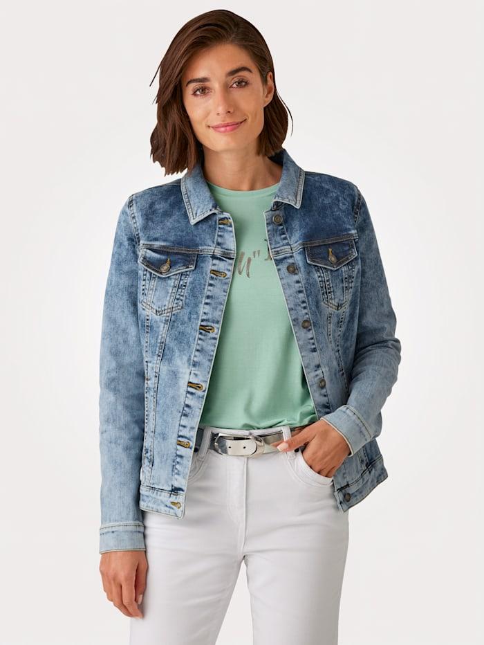 MONA Jeansjacka med tvättade effekter, Blå