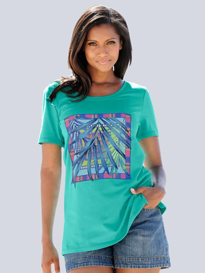 Alba Moda Strandshirt mit Frontdruck, Mint-Druck