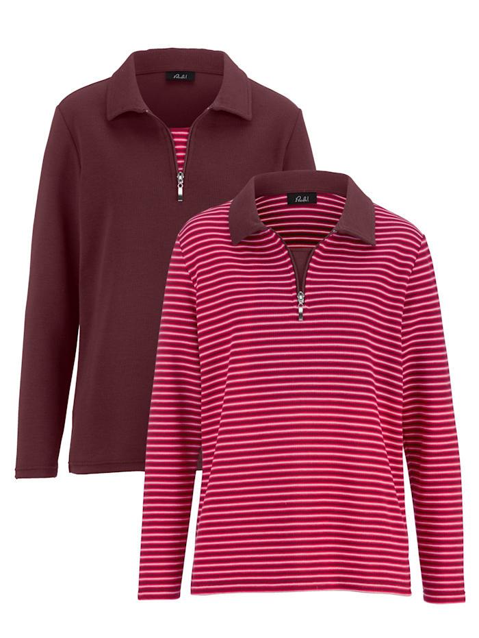 Paola Sweat-shirt par lot de 2 de coloris uni et rayé, Bordeaux