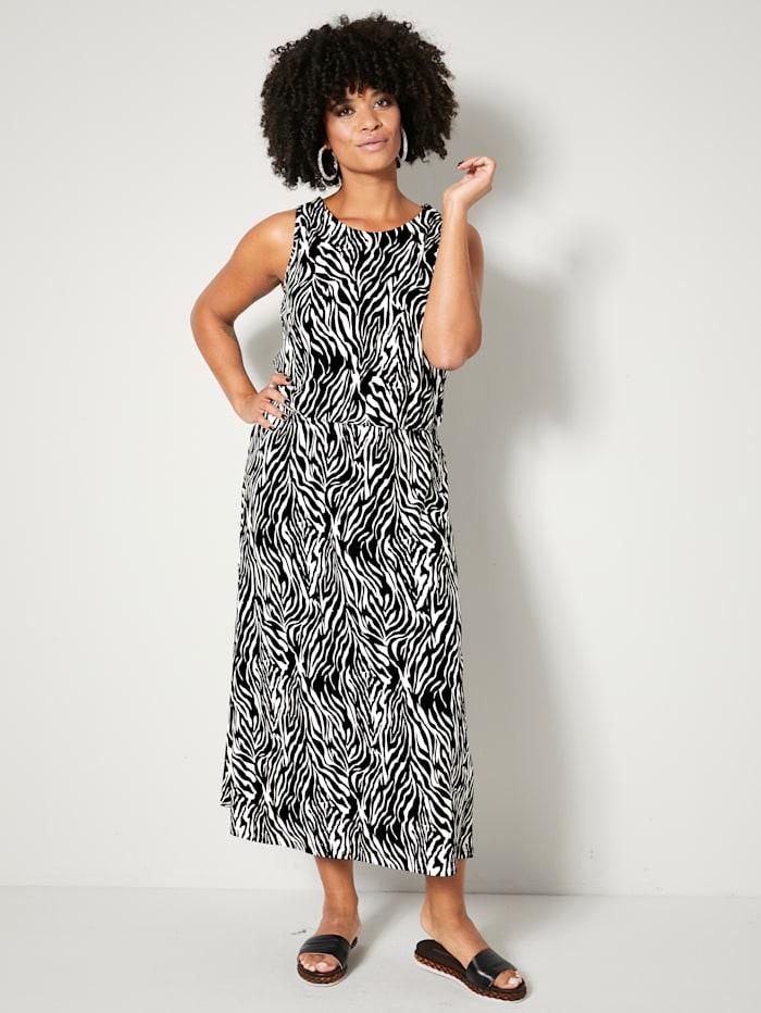 Angel of Style Jerseykleid mit Gummizug in der Taille, Schwarz/Off-white