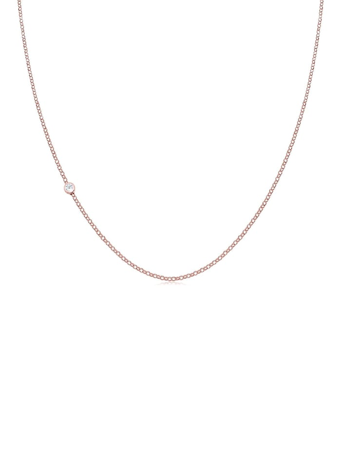 Elli Premium Halskette Basic Diamant 925 Sterling Silber, Rosegold