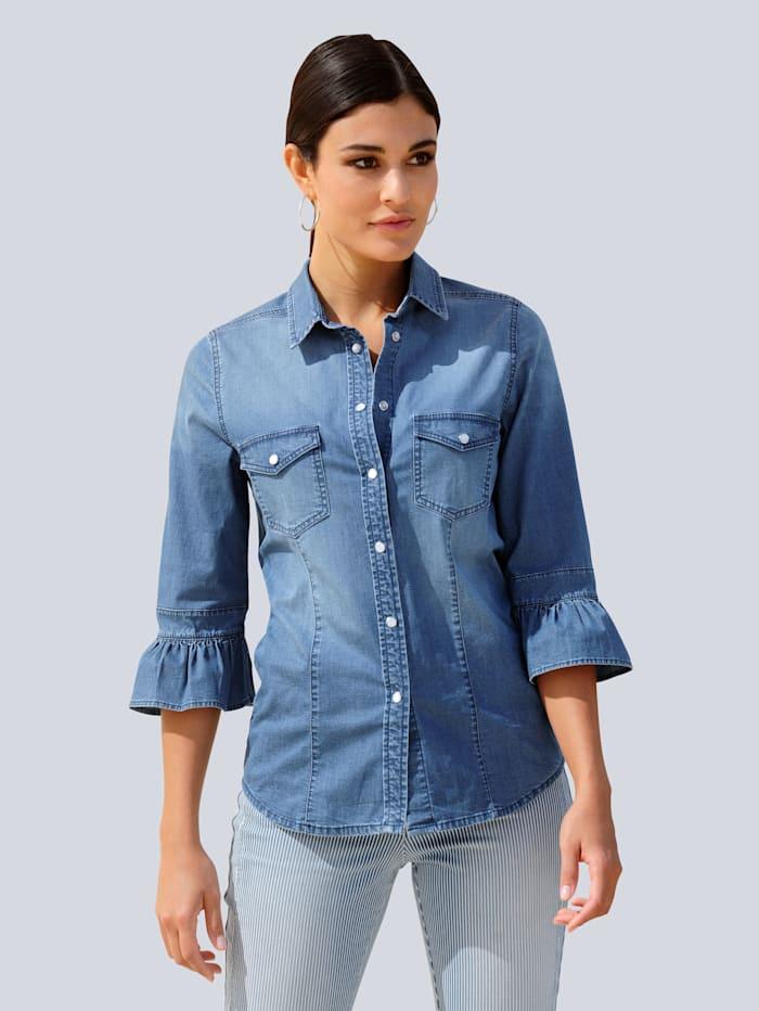 Alba Moda Bluse in schöner Jeans-Qualität, Blue bleached