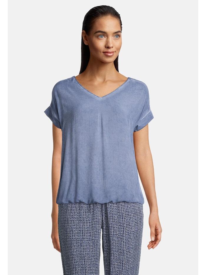Betty & Co Casual-Shirt mit Gummizug, Blau