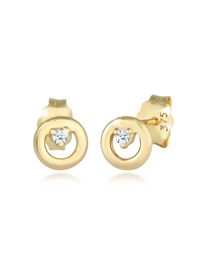 DIAMORE Ohrringe Kreis Rund Diamanten (0.03 Ct) Edel 375Er Gelbgold, Gold