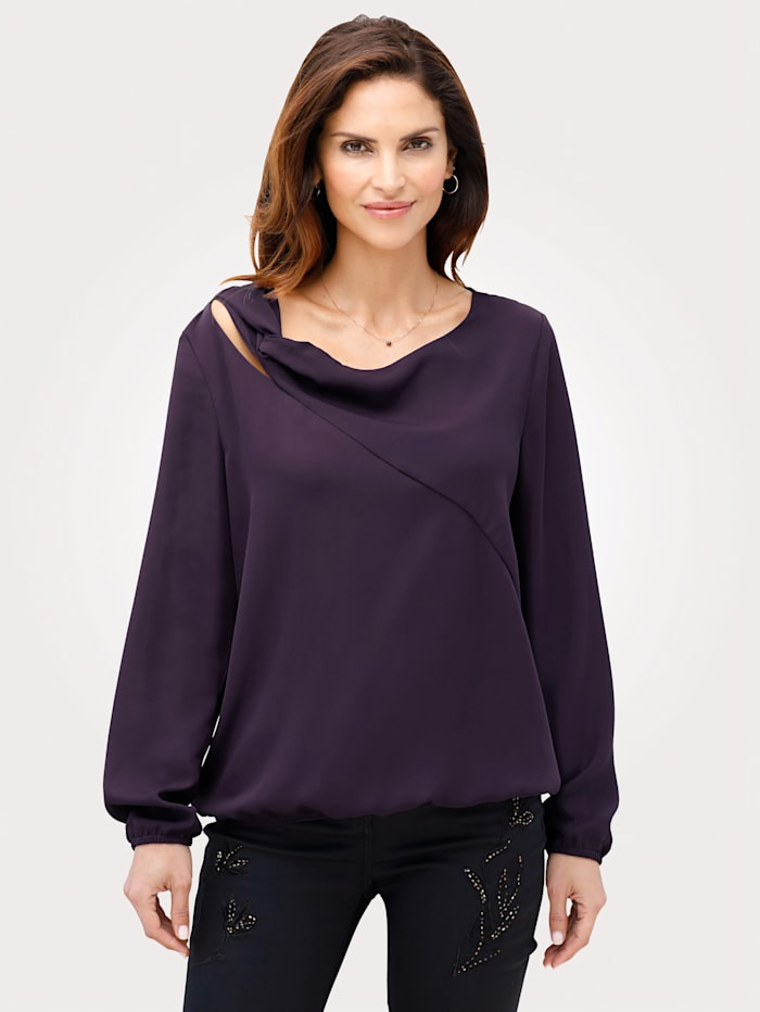 MONA Pull-on blouse made from fine crêpe, Purple