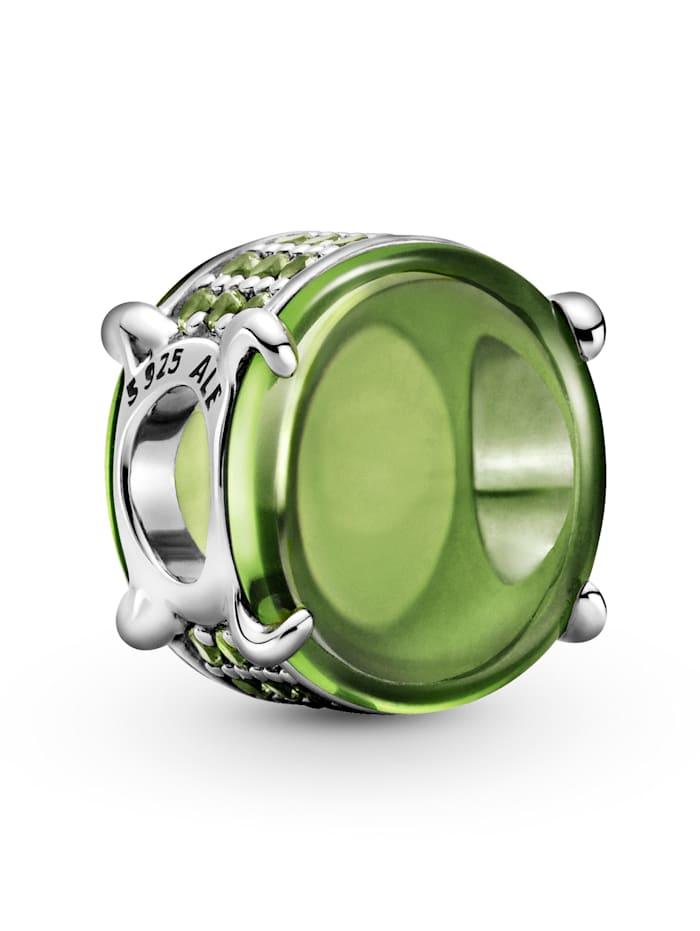 Pandora Charm - Grünes Ovales Cabochon - 799309C02, Silberfarben