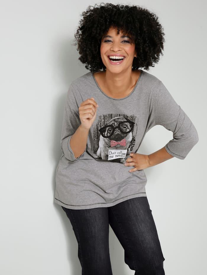 Angel of Style Shirt mit süßem Hundemotiv, Grau