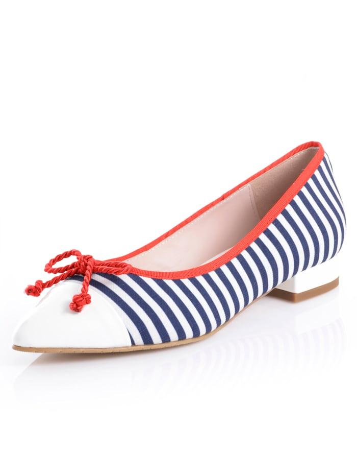 Alba Moda Ballerina im Streifen-Look, Marineblau/Weiß/Rot