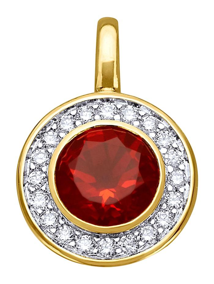 Diemer Farbstein Anhänger mit Feueropal und Diamanten, Rot