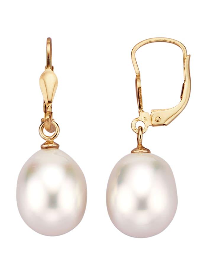 Amara Perle Ohrringe in Gelbgold 585, Weiß