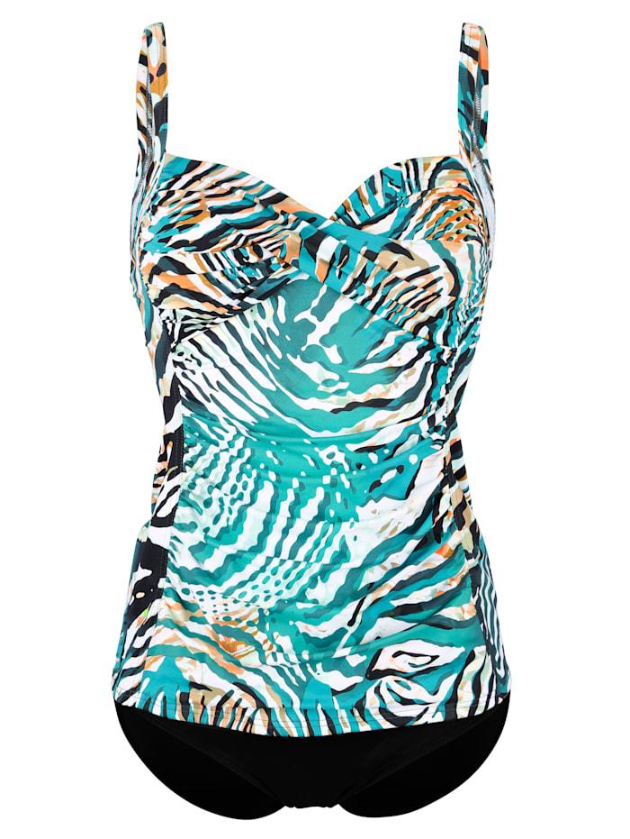 Sunflair Tankini à motif animalier réinterprété, Turquoise