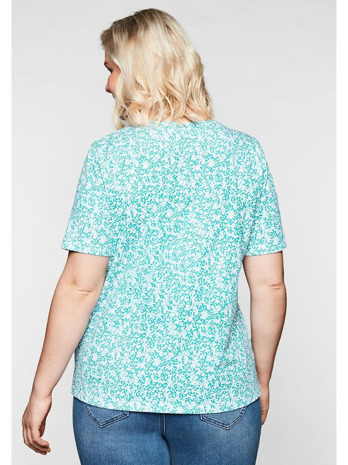 Sheego Shirt mit floralem Alloverprint und leichter A-Linie