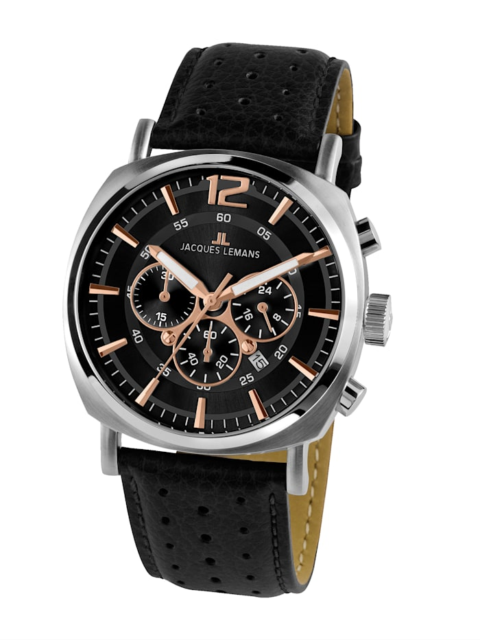Jacques Lemans Herren-Uhr Chronograph Serie: Lugano, Kollektion: Sport 1-1645.1J, Schwarz
