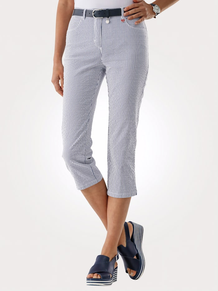 Relaxed by Toni Cropped trousers in a striped design, Blue/White