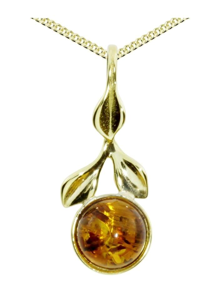 OSTSEE-SCHMUCK Kette mit Anhänger - Blüte - Gold 333/000 - Bernstein, gold