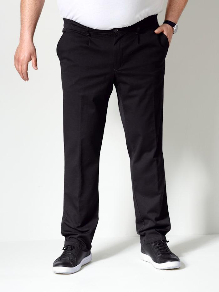 Men Plus Bundfaltenhose Straight-Fit, Schwarz
