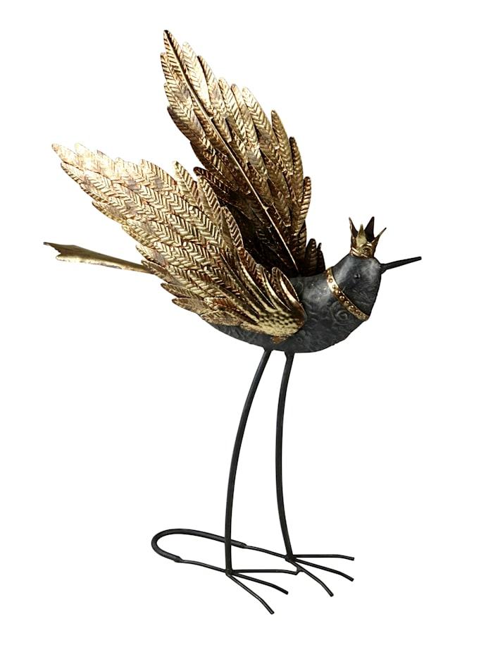 AM Design Deko-Objekt, Paradiesvogel, grau/goldfarben
