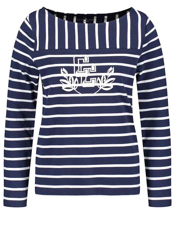 Gerry Weber Langarmshirt mit Streifenmix organic cotton, Blau/Ecru/Weiss Ringel