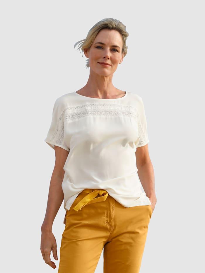 Dress In Bluse mit Spitzeneinsatz, Off-white