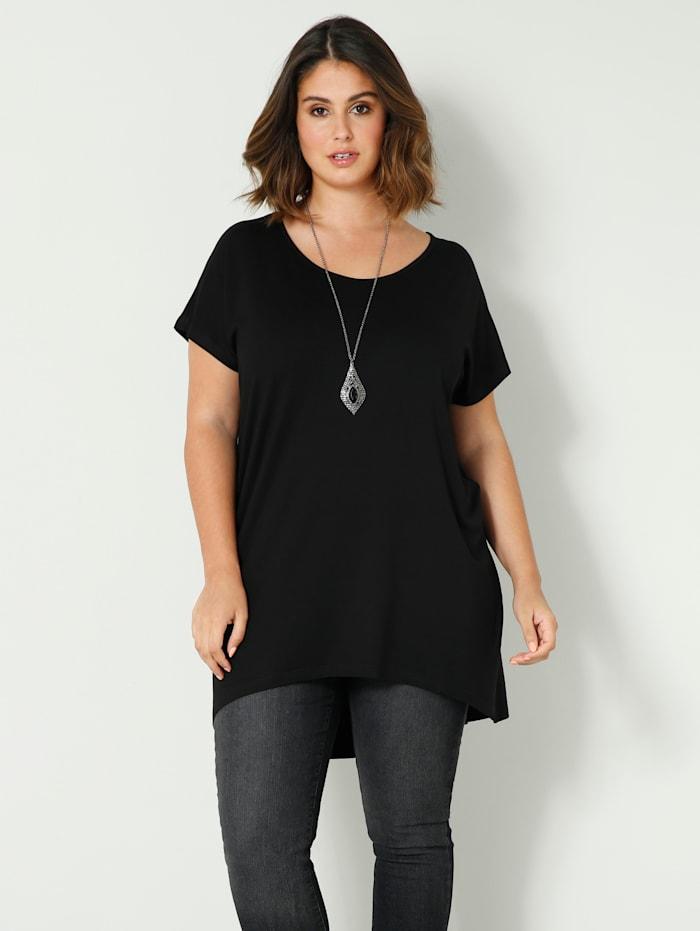 Sara Lindholm T-shirt de coupe plus longue au dos, Noir