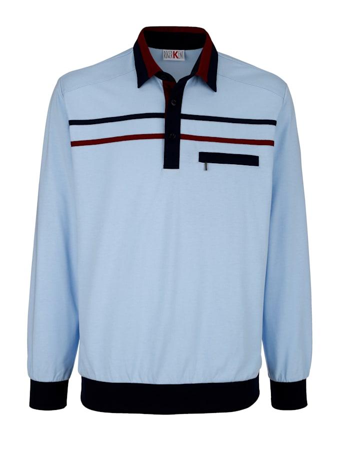 Roger Kent Poloshirt met handige borstzak, Lichtblauw