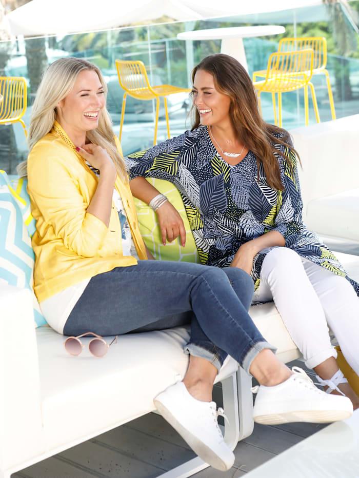 Jeans mit asymmetrischem Fransenabschluss