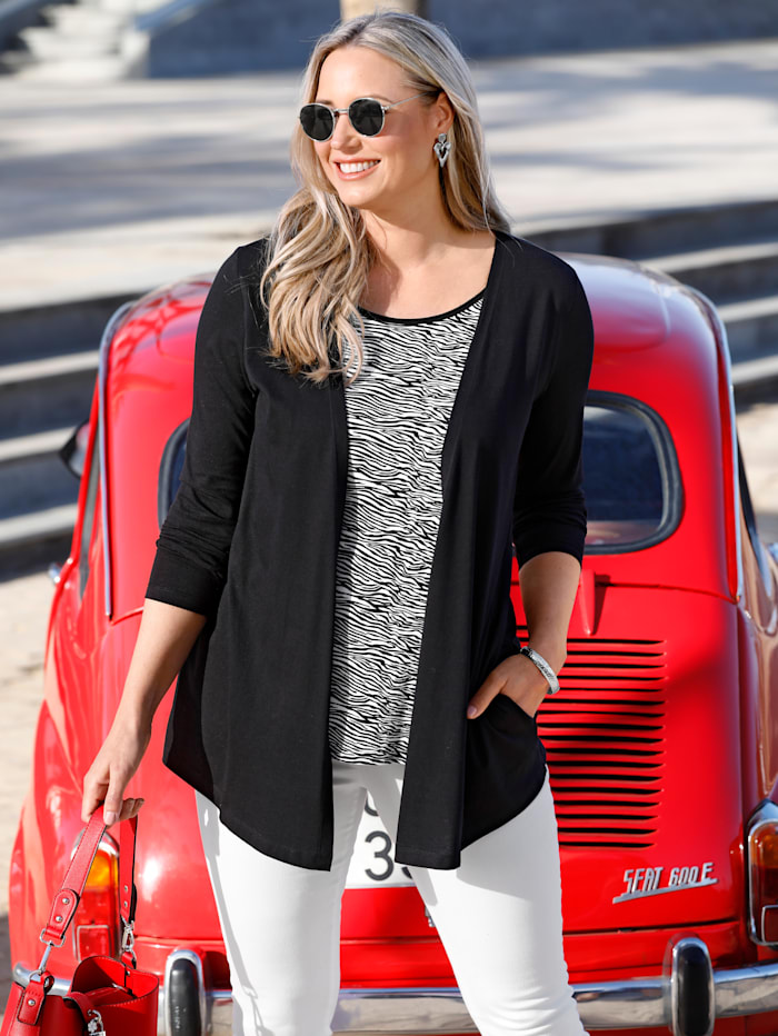MIAMODA 2-in-1 Shirt mit modischem Zebramuster, Schwarz/Weiß