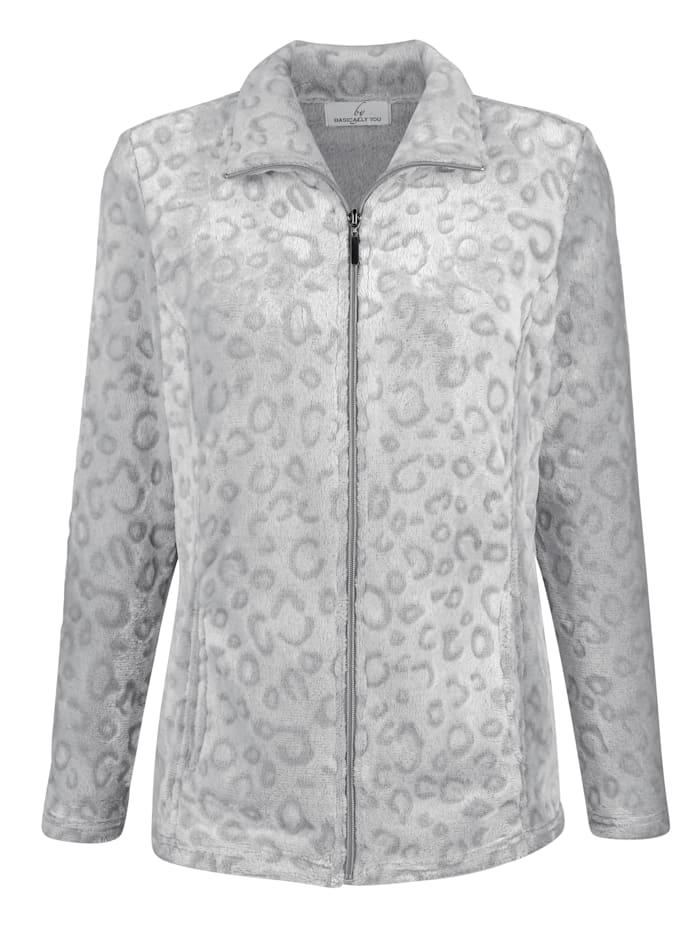 basically you Fleece vest met subtiel animaldessin, Lichtgrijs