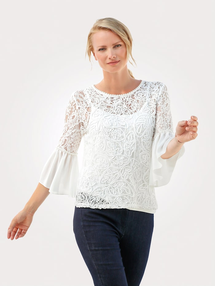 MONA Lace top with faux pearls, White