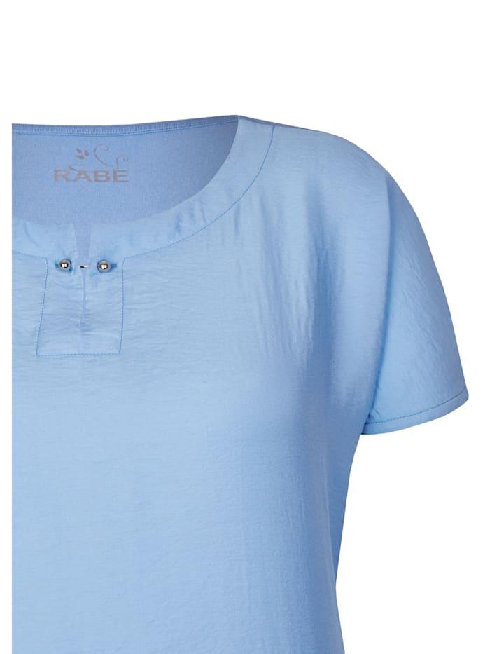 T-Shirt mit Satin-Optik und Zierbrosche