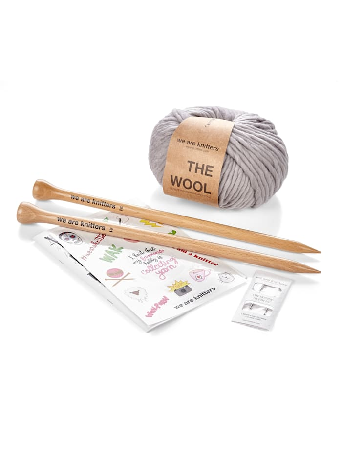 We are knitters Strick-Set Mütze, grau
