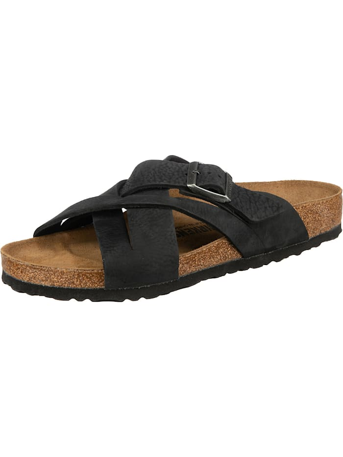 Birkenstock Lugano Oiled Leather Leder Pantoletten normal, schwarz