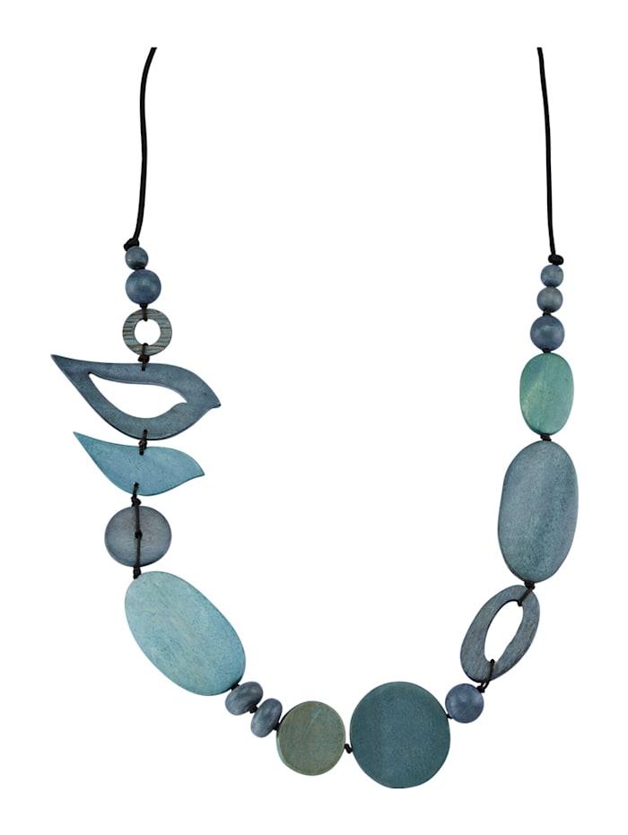 Halskette mit Holzelementen, Blau