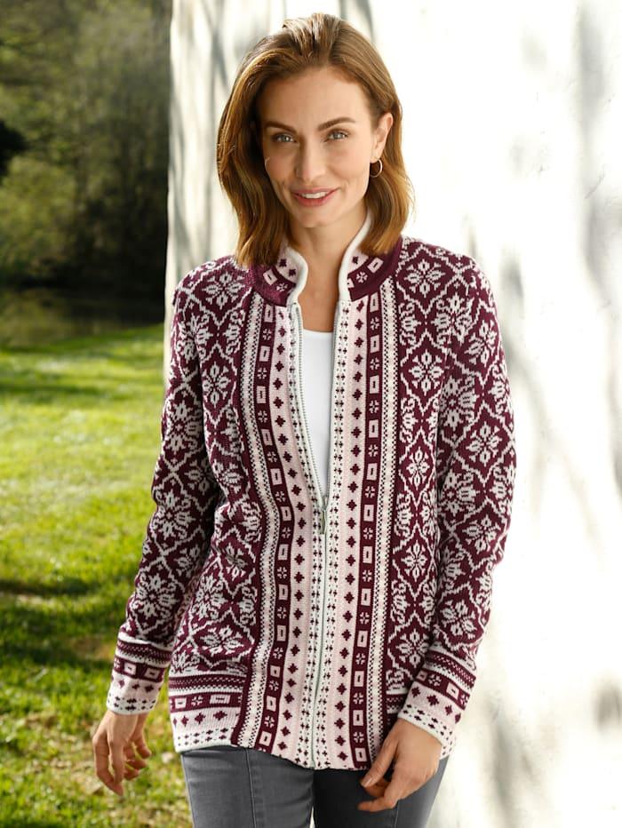Paola Vest Met chic jacquardpatroon, Donkerpaars/Rozenhout