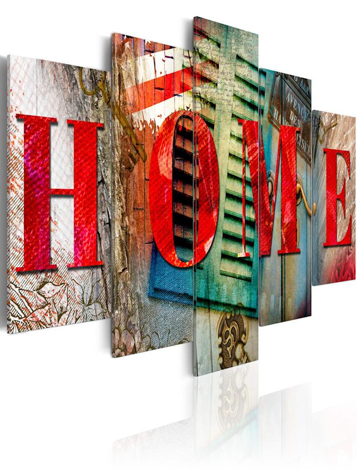 artgeist Wandbild Elements of home, Grau,Rot,Türkis