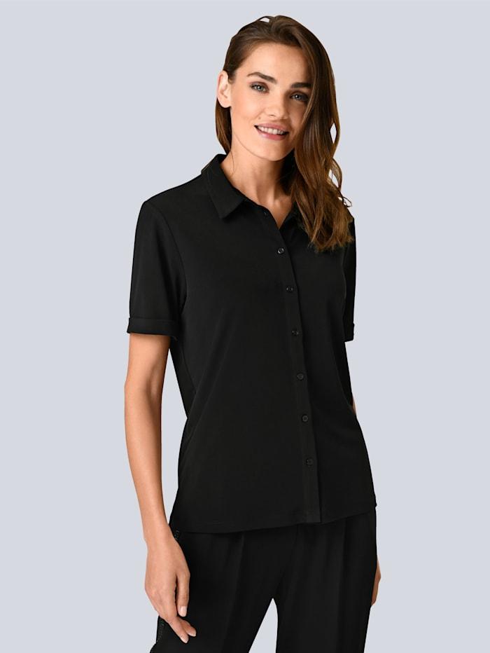 Alba Moda Bluse aus elastischer Viskose Qualität, Schwarz