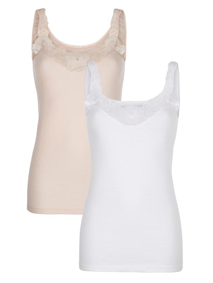 Harmony Hemdjes uit de 'Cotton made in Africa'-collectie, Wit/Nude