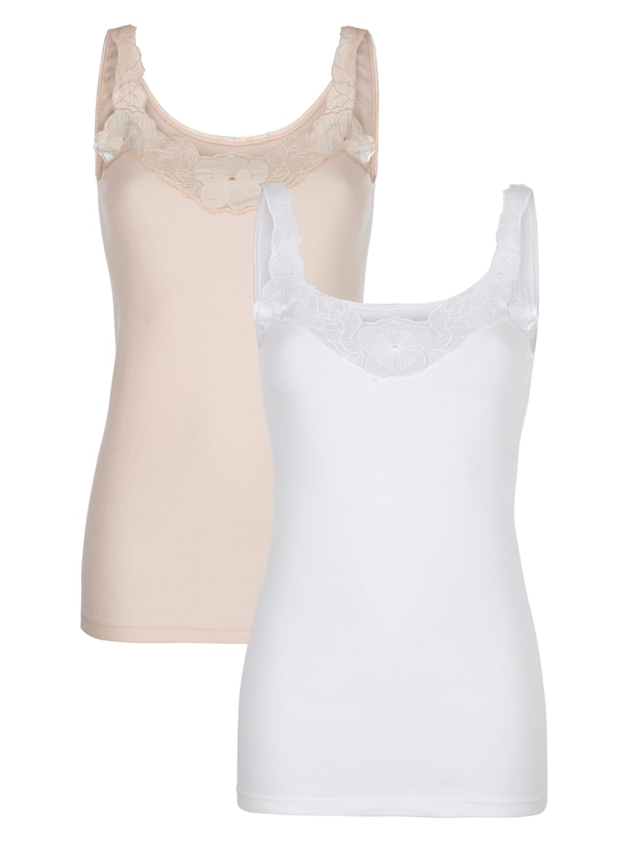 Harmony Vest tops made from sustainable cotton, White/Nude