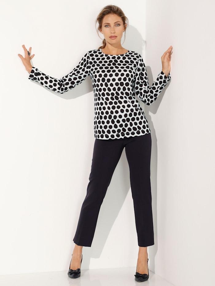 AMY VERMONT Bluse med prikkemønster, Hvit/Svart