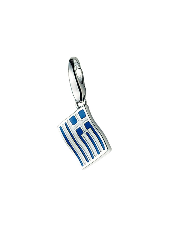 Giorgio Martello Charm Griechenland-Flagge, Silber 925, Bunt